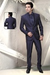 Blue Color Shawl Lapel Wedding Reception Suit