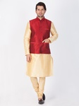 Gold Kurta Pajama With Maroon Jacket