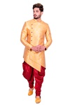 Groom Yellow Silk Asymmetrical Indo Western Sherwani