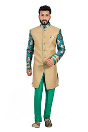 Natural Jute &  Green  Indowestern Sherwani  RK1114
