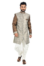 White &  Sienna Coffee  Indowestern Sherwani  RK1117