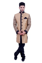 Natural Jute &  Black  Indowestern Sherwani  RK1088