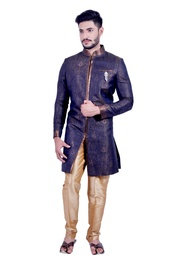 Denim Blue &  Gold  Indowestern Sherwani  RK1091