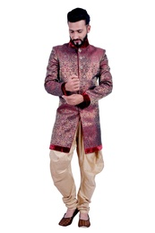 Marron &  Gold  Indowestern Sherwani  RK1098