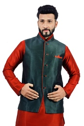 Dark Oak Leaf  Nehru Jacket   RK4137