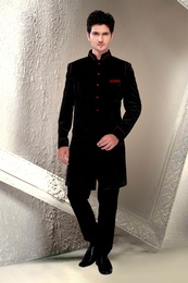 Lavish Black Color Indo Western Sherwani
