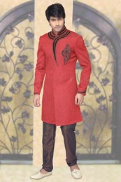 Impeccable Orange Color Indo Western Sherwani