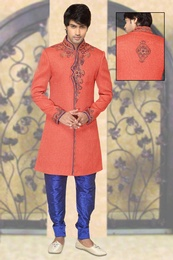 Orange Color Speckless Indo Western Sherwani