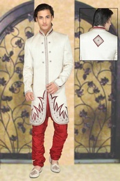 Cream Color Fancy Look Indo Western Sherwani