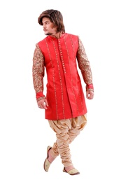 Ravishing Red Color Indo Western Sherwani