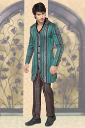 Blue & Brown Color Trendy Indo Western Sherwani