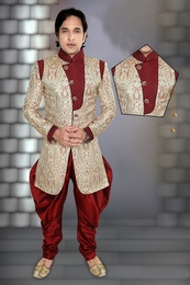 Grey Color Ethnic Wear Indo Western Sherwani
