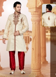 Engrossing Cream Color Indo Western Sherwani