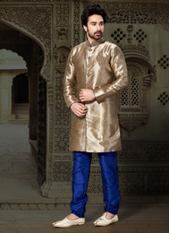 Brown Color Adolescent Ghicha Silk Indo Western Sherwani