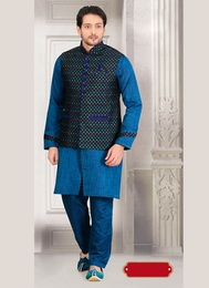 Princely Blue Color Western Sherwani