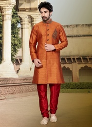 Orange Color Attractive Look Ghicha Silk Indo Western Sherwani