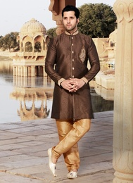 Brown Color Impressive Indo Western Sherwani