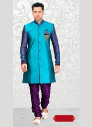 Charming Blue Color Dupioni Western Sherwani