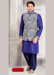 Flatter Your Look Blue Color Indo Western Sherwani