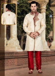 Cream Color Ravishing Jacquard Indo Western Sherwani