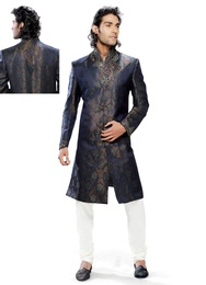 Blue Color Royal Rich Look Indo Western Sherwani