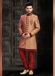 Magnet Brown Color Indo Western Sherwani