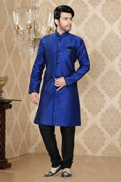 Enamouring Blue Color Indo Western Sherwani