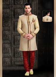 Handsome Look Brown Color Indo Western Sherwani