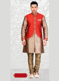 Fabulous Red Color Indo Western Sherwani
