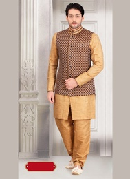Impressive Look Brown Color Indo Western Sherwani