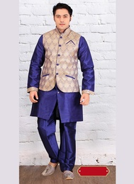 Blue Color Admirable Indo Western Sherwani