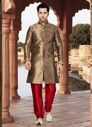 Beauteous Brown Color Indo Western Sherwani