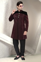 Maroon Wedding Collection Indo Western Sherwani