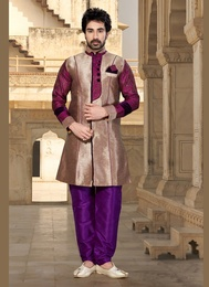 Enhance Your Look Brown Color Indo Western Sherwani