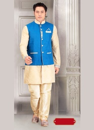 live in Style Beige Color Indo Western Sherwani