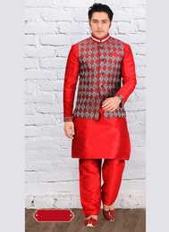 Red Color Ethnic Wear Indo Western Sherwani