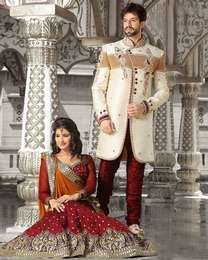 Creative Cream Color Indo Western Sherwani