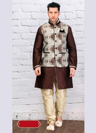 Trendsetting Brown Color Indo Western Sherwani