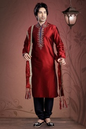 Maroon Color Embroidery Kurta Payjama