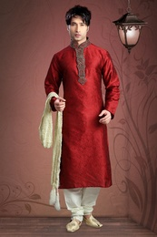 Silk Fabric Embroidery Kurta Payjama
