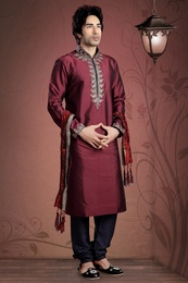 Ethnic Maroon Color Kurta Payjama