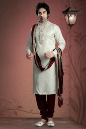 Cream Color Crystals Stones Kurta Payjama