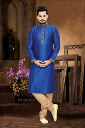 Blue Color Sangeet Kurta Payjama