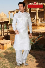White Color Festive Season Kurta Payjama