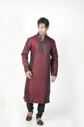 Maroon Color Wedding Kurta Payjama