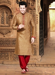 Brown Color Silk Fabric Kurta Payjama