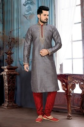 Grey Color Ghicha Silk  Kurta Payjama