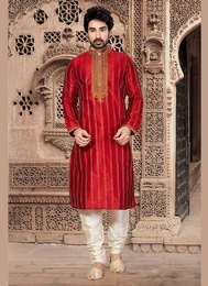 Red Color Butta Work Kurta Payjama