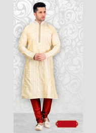 Cream Color Mens Ethnic Kurta Payjama
