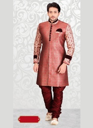 Red Color Trendsetting Silk Western Sherwani
